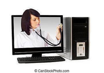 doctor, de, pantalla de computadora, -, atención sanitaria, o, seguridad computadora, concepto