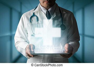 Doctor displays medical cross symbol from tablet.