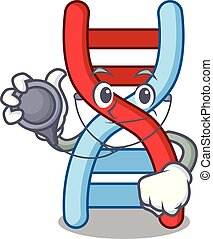 Doctor dna molecule character cartoon vector illustration