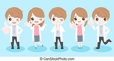 doctor do different gestures - cute cartoon doctor do...