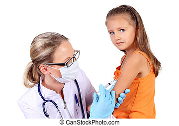 Doctor doing vaccine injection to child - Doctor doing...