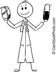 doctor, dos, caricatura, tenencia, medicina, píldoras