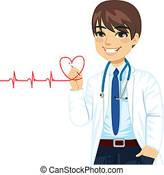 Doctor Drawing Heart - Doctor drawing a red heart...