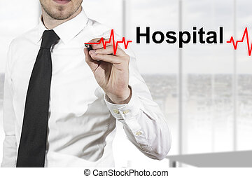 doctor drawing heartbeat line hospital - doctor with necktie...