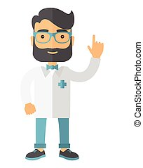 A happy caucasian doctor dressed in a white lab coat. A Contemporary style. Vector flat design illustration isolated white background. Vertical layout.