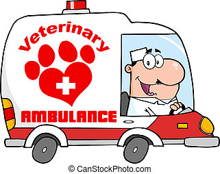 Doctor Driving Veterinary Ambulance