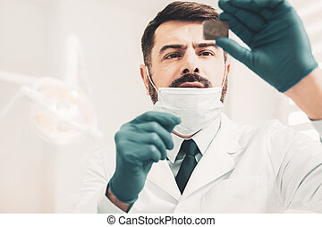 doctor, el mirar, dental, radiografía