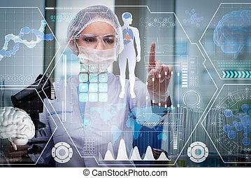 doctor, en, futurista, concepto médico, botón urgente