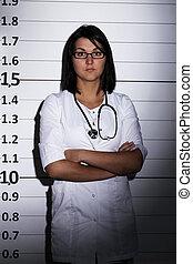 doctor, encima, cárcel, plano de fondo
