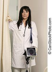 Doctor entering ward