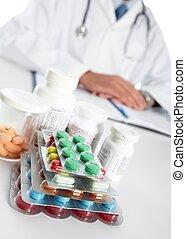 doctor, escritura, médico, prescription.