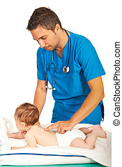 Doctor examine spine to baby - Pediatrician examine spine to...
