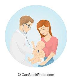 Doctor examines baby.