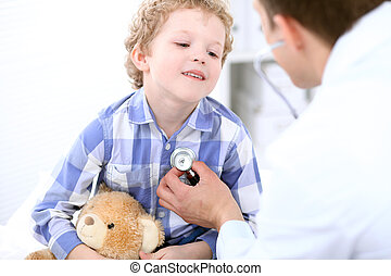 Doctor examining a child  patient by stethoscope
