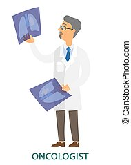 Doctor examining a lung radiography vector illustration. Oncologist holding X-ray picture of patient. Man in white coat is looking at a photo. Male character in glasses isolated on white background
