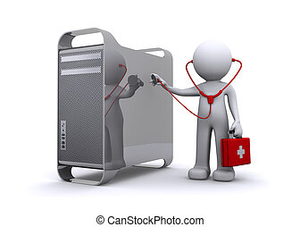 doctor examining a pc/mac