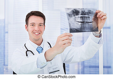 Doctor Examining Dental X-Ray In Hospital
