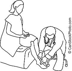 Doctor examining foot muscle of female patient with hand vector illustration outline sketch hand drawn with black lines isolated on white background