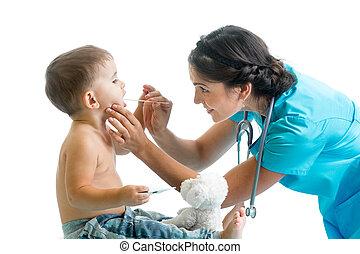 doctor examining kid isolated on white background