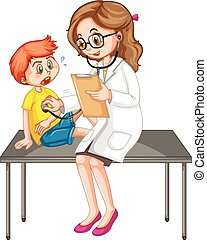 Doctor examining little boy