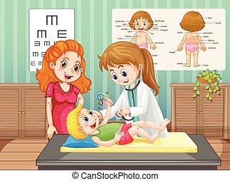 Doctor examining little boy in clinic illustration