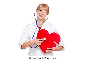 Doctor examining the heart