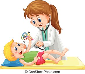 Doctor examining toddler boy illustration