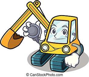Doctor excavator character cartoon style