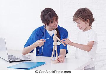 Doctor explain anatomy to child