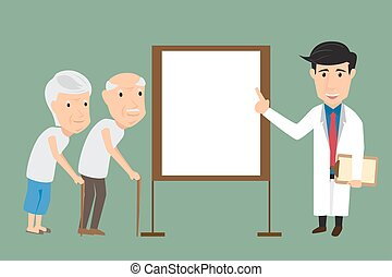 Doctor explaining about treatment to attentive senior couple. vector illustration.