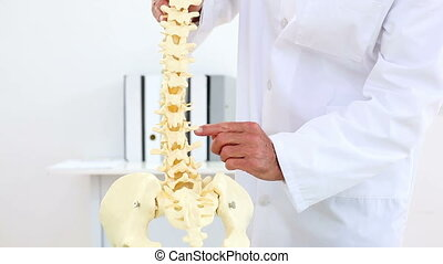 Doctor explaining model of spine to camera in his office at...