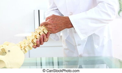 Doctor explaining skeleton spine model to camera in his...
