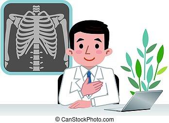 Doctor explaining the bones