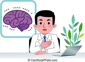 Doctor explaining the brain