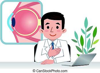 Doctor explaining the eyeball
