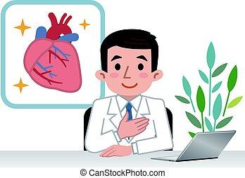 Doctor explaining the heart - Vector illustration. Original...