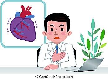 Doctor explaining the heart