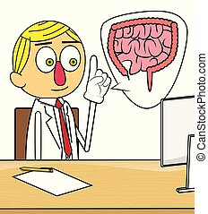Doctor explaining the intestine.