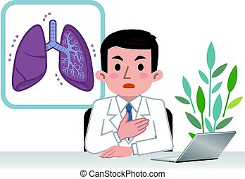 Doctor explaining the lungs