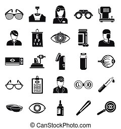 Doctor eye examination icons set, simple style - Doctor eye ...