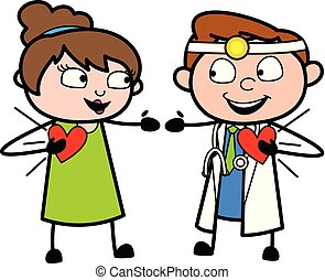 Doctor Fall in Love with a Lady - Professional Cartoon Doctor Vector Illustration