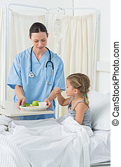 Doctor feeding breakfast to ill girl