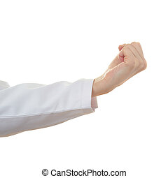 Doctor female hand over white isolated background