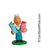 Doctor figurine with two infants