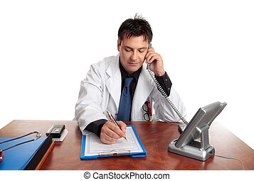 Doctor filling out patient record