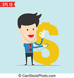 doctor, financiero, arriba, cheque