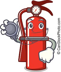 Doctor fire extinguisher character cartoon