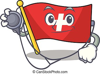 Doctor flag switzerland with the mascot shape