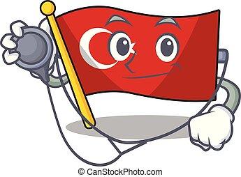 Doctor flag turkey character on shaped cartoon