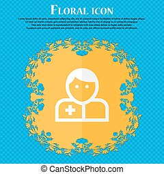 Doctor . Floral flat design on a blue abstract background with place for your text. Vector
